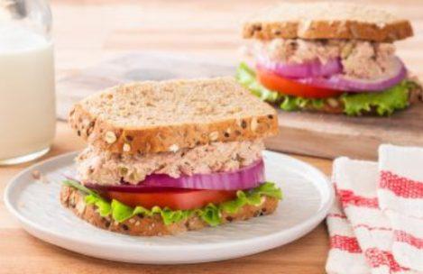 Panera Bread tuna salad sandwich on black pepper focaccia